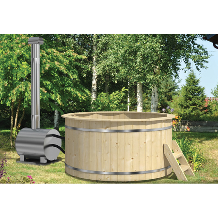 Hot tub with external heater (spruce)